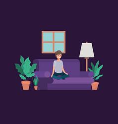 Teenager boy seated in livingroom vector