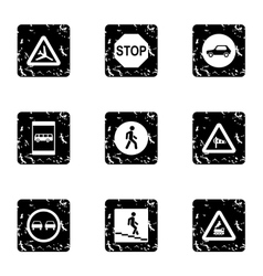 Traffic sign icons set grunge style vector