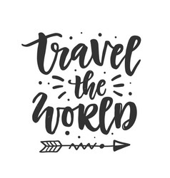 travel world hand drawn lettering vector image