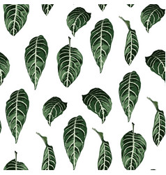 tropical seamless pattern with exotic trees leaves vector image