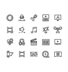 Video production line icons editing color grading vector