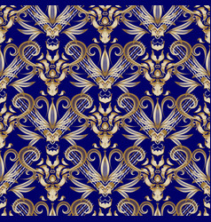 vintage floral gold damask seamless pattern blue vector image