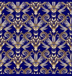 Vintage floral gold damask seamless pattern blue vector
