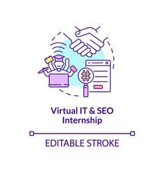 Virtual it and seo internship concept icon vector
