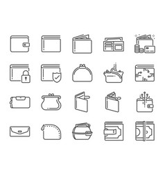 Wallet icon set vector