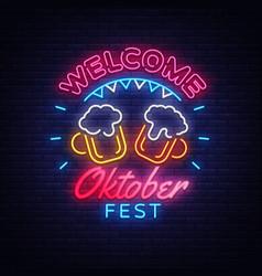 welcome oktoberfest greeting card oktobefest neon vector image