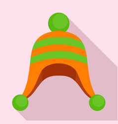 winter cold hat icon flat style vector image