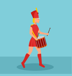 woman drummer icon flat style vector image