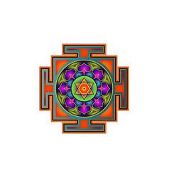 yantra mandala colorful sacred geometry tibetan vector image