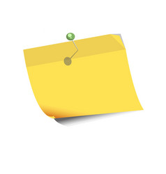 Yellow paper for noting with pin isolated on white vector