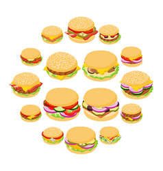 burger classic icons set isometric style vector image