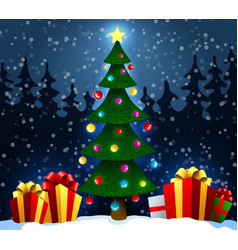 christmas tree with gifts on snow in the winter vector image vector image
