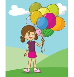 Girl holding colorful balloons on mountain and nic vector image vector image