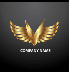 logo v angel vector image