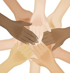 multiracial human hands vector image