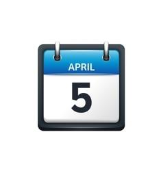 April 5 Calendar icon flat vector image vector image