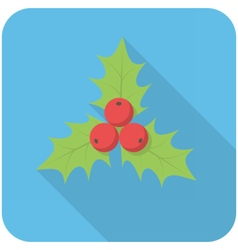 Christmas holly icon vector image vector image