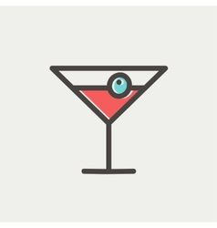 Cocktail drink with cherry thin line icon vector image vector image