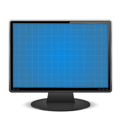 Graph paper on the screen of computer monitor vector image vector image