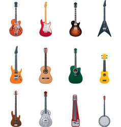 guitars icon set vector image