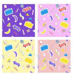 memphis set pattern different backgrounds vector image