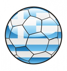 flag of Greece on soccer ball vector image vector image