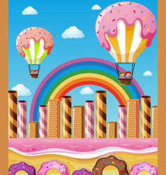 scene with children flying in candy balloons vector image