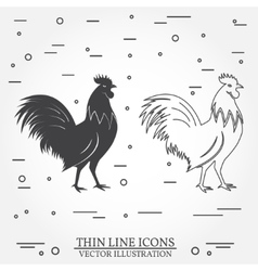 Set of rooster silhouette and thin line icons vector image
