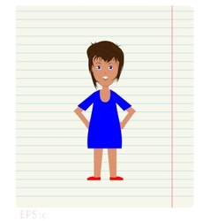 Cheerful woman drawn on notebook sheet in line vector image vector image