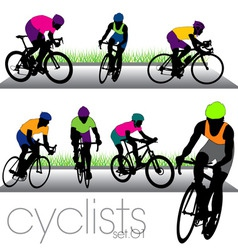 cyclists set01 vector image vector image