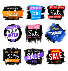 discount and price tag sale banners with grange vector image vector image