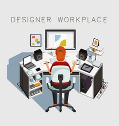 Gaphic designer at work designer workplace vector