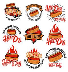 hot dog labels handwritten lettering logo label vector image vector image