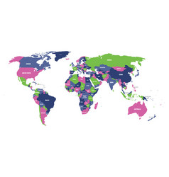 political map of world in four colors with white vector image vector image