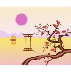 sakura Evening in the garden blooming cherry vector image