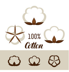Set of cotton icons emblems for clothing and vector