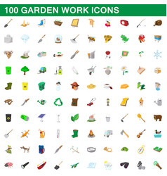 100 garden work icons set cartoon style vector image