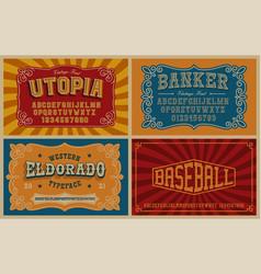 a bundle vintage fonts vector image