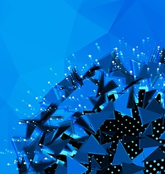 Abstract polygonal blue background explosion of 3d vector