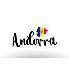 Andorra country big text with flag inside map vector