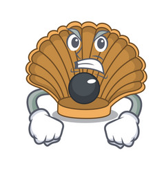 Angry shell with pearl mascot cartoon vector