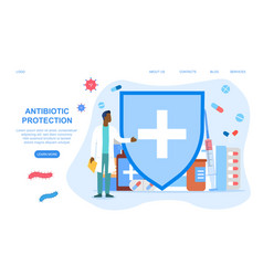 Antibiotic protection concept vector