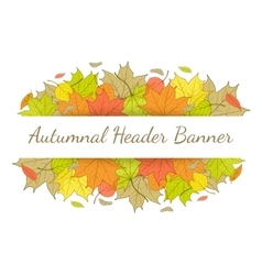 Autumn header banner with hand drawn fallen leaves vector image