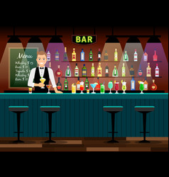 Bar counter with bartender vector
