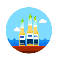 Beer bottle icon summer vacation vector