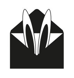 Black and white bunny ears invitation vector