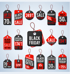 Black friday pricing tags and promotion labels vector