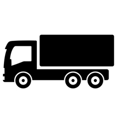 Black lorry silhouette vector
