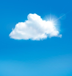 Blue sky with cloud and sun background vector