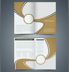 Brown bifold brochure template design vector